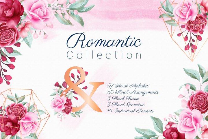 Romantic Watercolor Flowers Collection Bundle