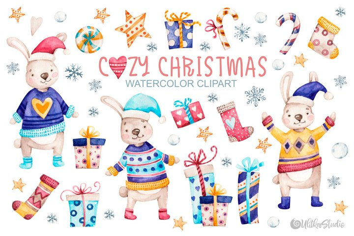 Cute Rabbits. Cozy winter Christmas watercolor clipart