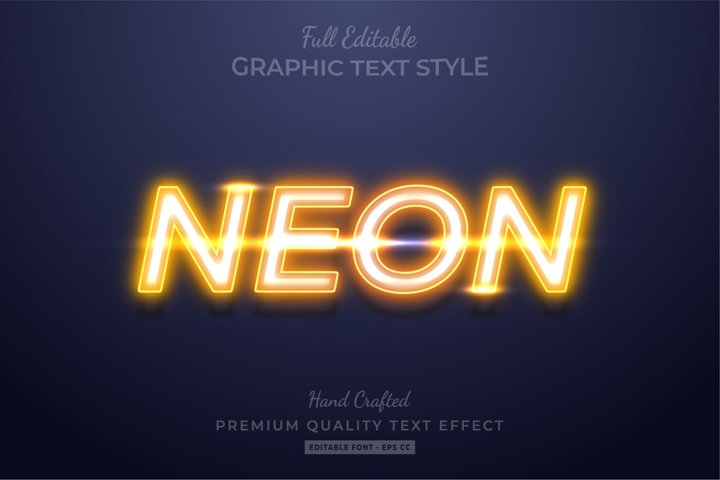 Yellow Neon Editable 3D Text Style Effect Premium