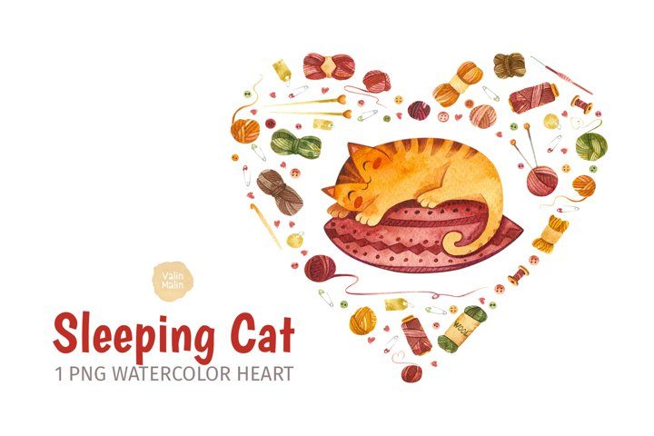 Watercolor cat clipart and crochet clipart