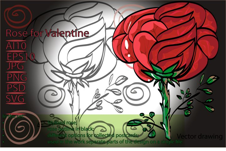 Rose for Valentine / stylized flower and 2 cards