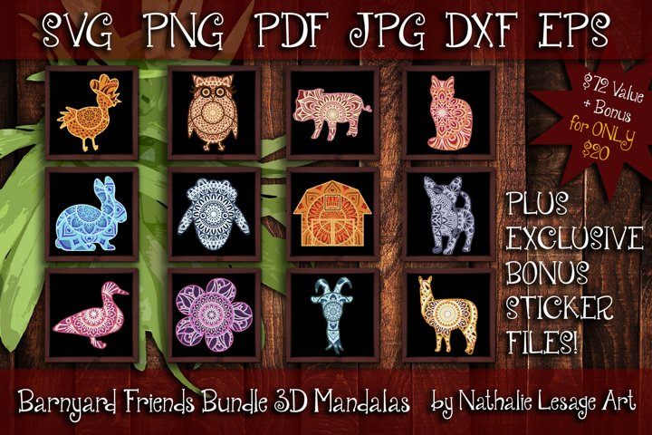 3D Mandalas Barnyard Friends Bundle SVG Cut Files Farm Ranch