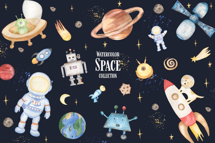 Watercolor Cute Kids Space Collection