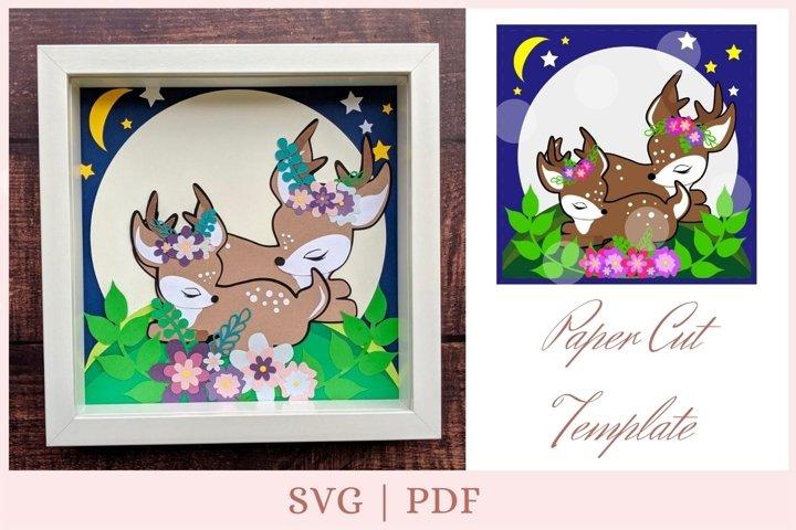 Deer svg, Deers cut, layered svg, shadow box