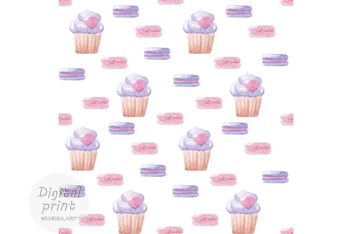 Watercolor seamless pattern Sweet cakes digital paper