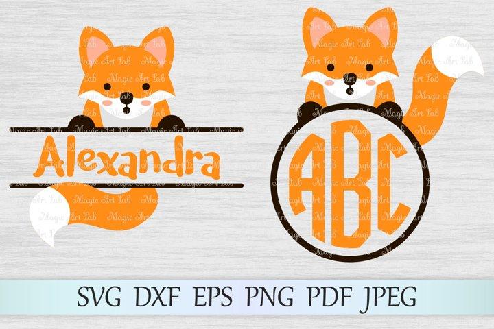 Fox svg, Animal svg file, Fox monogram svg, Monogram frames