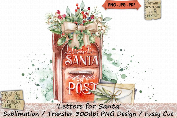 Letters | Santa | Christmas | Sublimation | Transfer | PNG