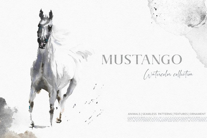 Mustango Watercolor Wild Animals Set