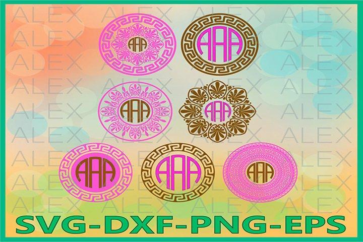 Greek Monogram Frames SVG, Greek Key