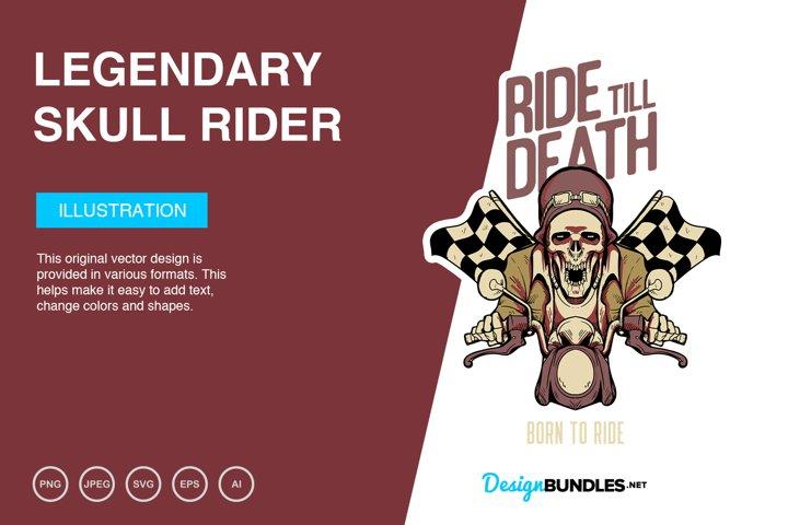 Legendary Skull Rider Vector Illustration