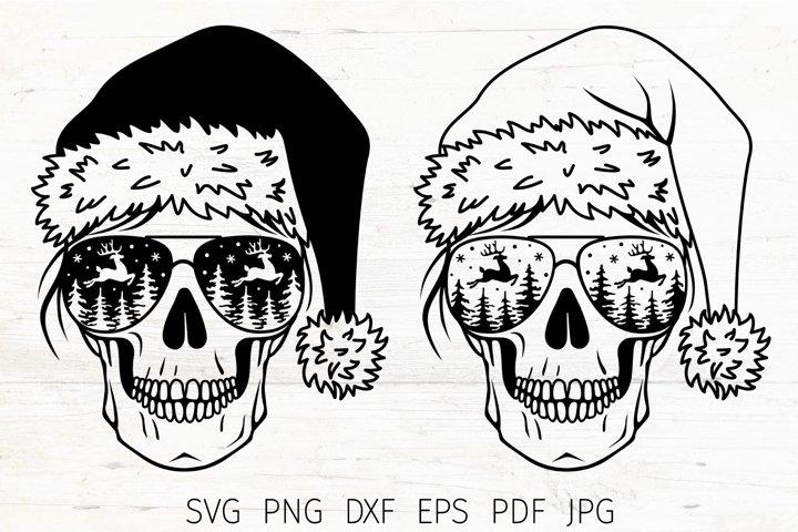Christmas skull svg, Skull Santa SVG, Christmas SVG mom life