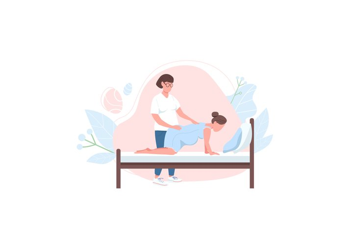 Obstetrician with woman flat color vector faceless character