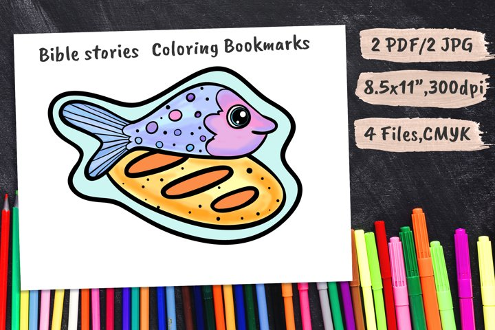 Fish & Bread Kids Coloring Page Bookmarks