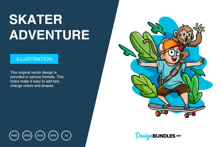 Skater Boy Adventure Vector Illustration