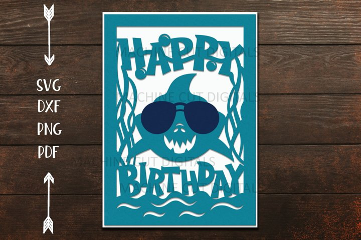 Shark Birthday card for boy paper cut template svg dxf file