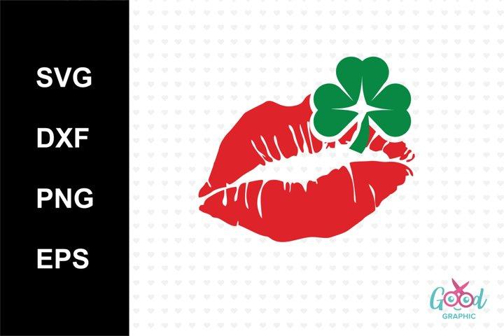kiss iris Svg, Lucky Svg, St Patricks day Svg, Lucky clover Svg, Lucky charm Svg, Cutting files for Silhouette Cameo, ScanNCut, Cricut