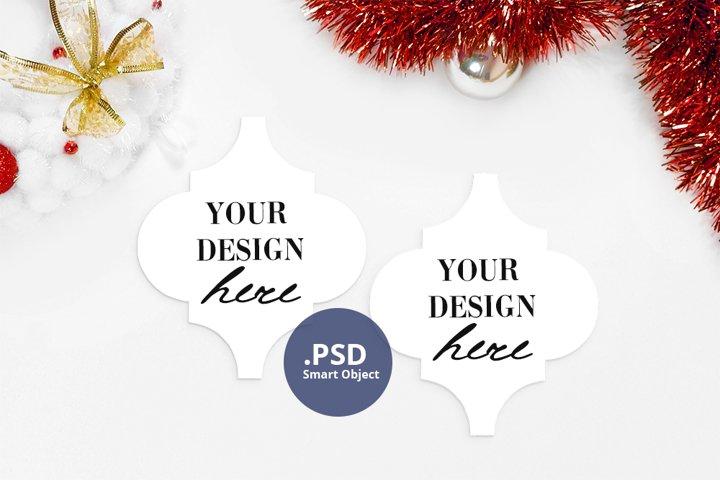 2 Arabesque ornaments mockup, Two Christmas tiles mockup