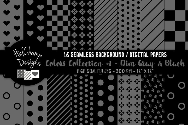 16 seamless Digital Papers - Dim Gray and Black - HC105