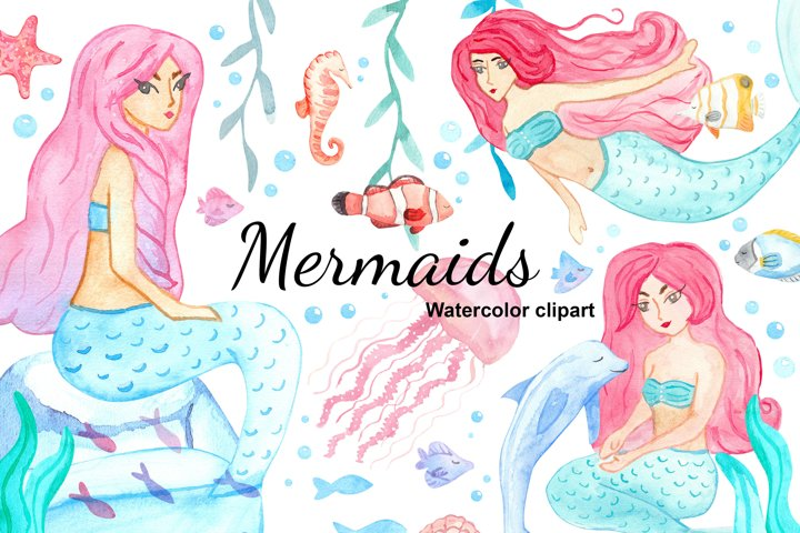 Watercolor mermaids and ocean animals clipart illustration