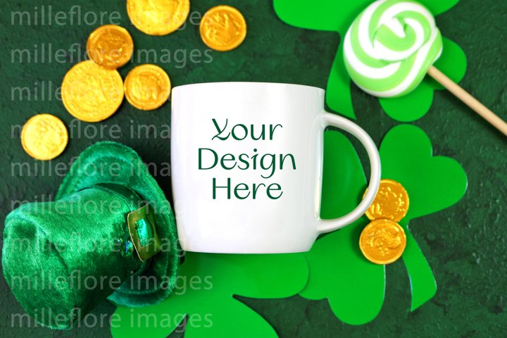 St Patricks Day Coffee Mug Flatlay SVG Craft Mockup Photo
