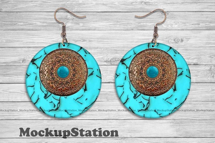 Turquoise Brown Leather Round Earring Sublimation Design PNG