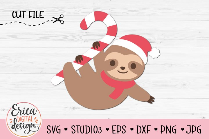 Christmas Sloth SVG Funny Baby clinging sloth Santa hat Kids