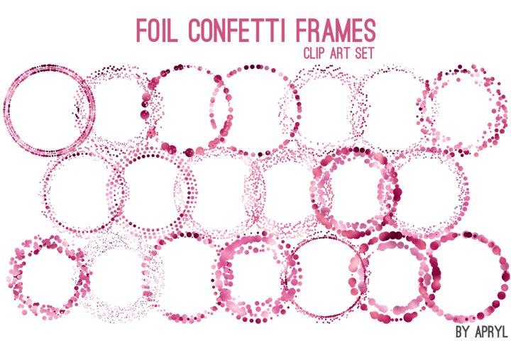 Pink Foil Round Confetti Frames