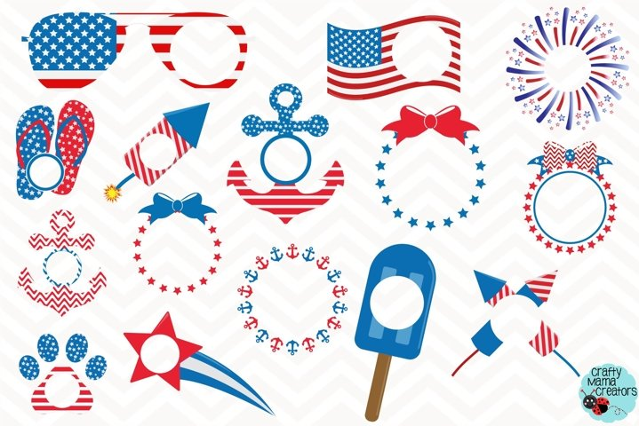 July 4th Svg, Red White Blue Monogram Clip Art, 4th Of July