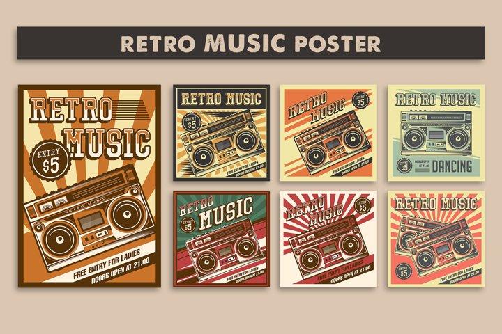 Retro Music Tape Recorder Radio Vintage Signage Poster