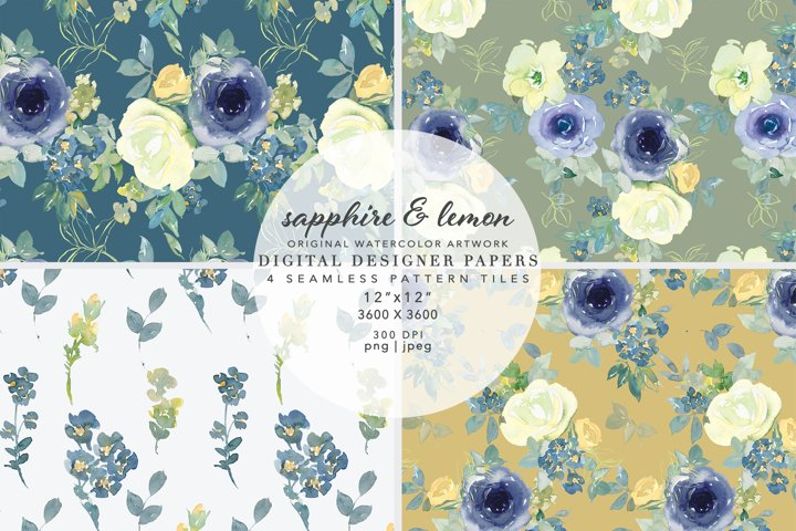 Watercolor Sapphire Lemon Floral Seamless Patterns