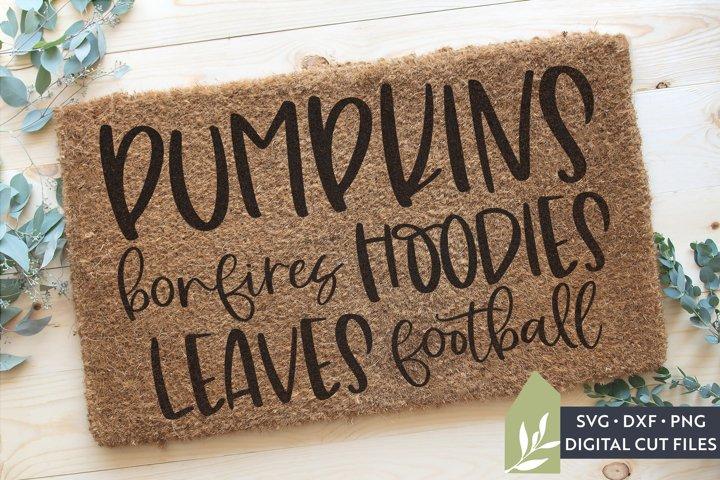 Pumpkins Bonfires Hoodies Leaves Football Doormat SVG Files