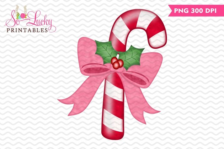 Candy Cane with Bow Christmas watercolor sublimation design