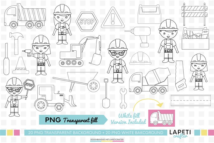Construction digi stamps, excavator coloring clipart