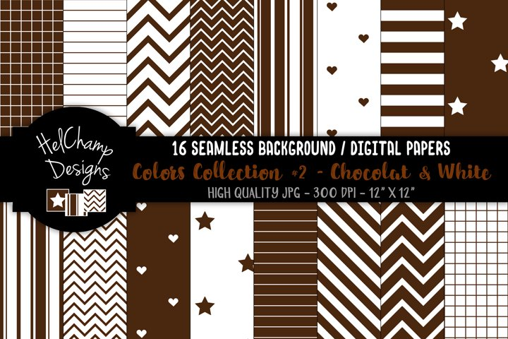 16 seamless Digital Papers - Chocolat and White- HC151