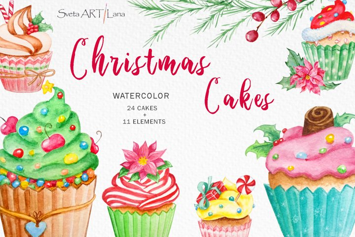 Christmas cupcakes clipart, watercolor cake