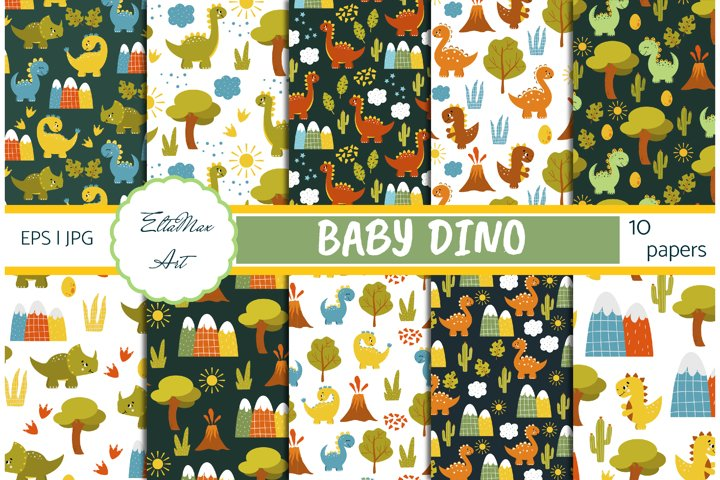 Dinosaur Digital Paper Pack, Dino seamless pattern