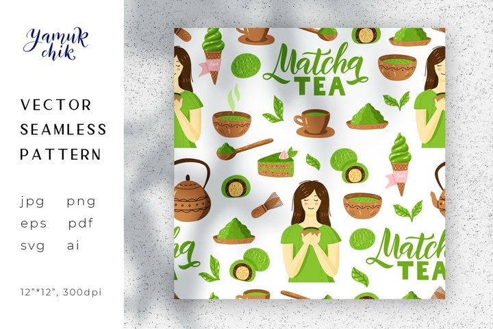 Matcha Green Tea Digital Paper, Matcha seamless pattern, png