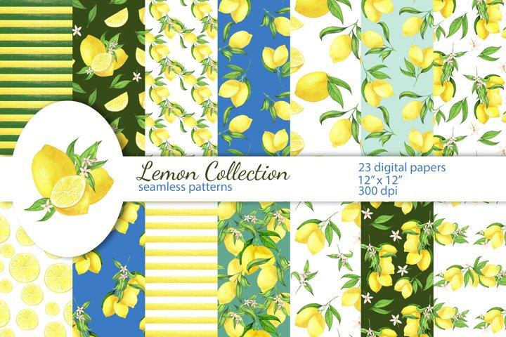 Lemon Digital Papers, Seamless Patterns