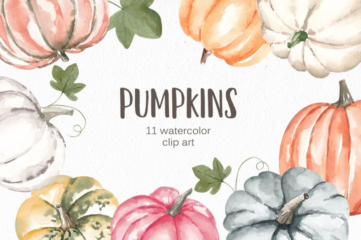 Watercolor Pumpkins Clipart, Autumn Illustrations