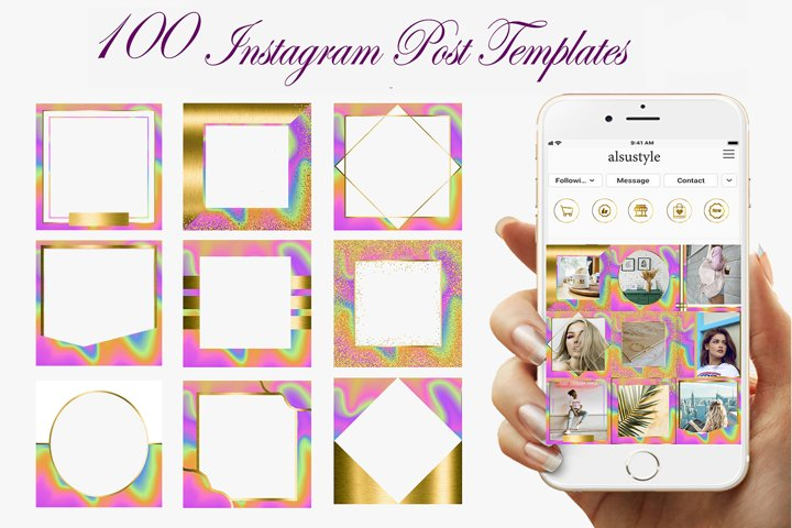Rainbow Gold Instagram Post Template, Holografic Blank Post