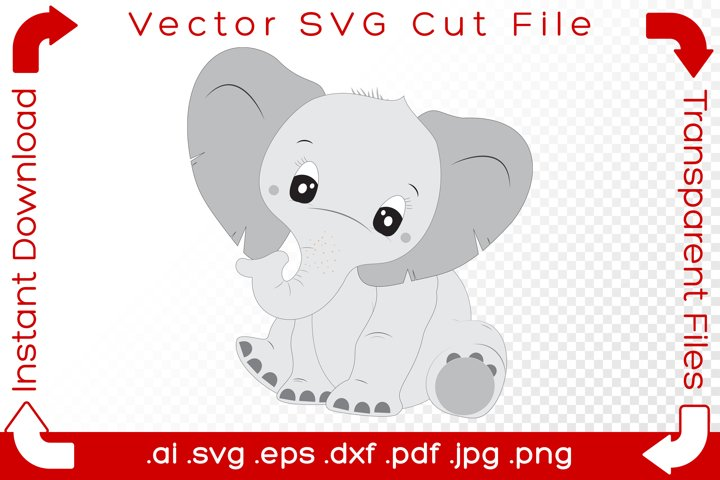 Cute Baby Elephant SVG - Sitting Cartoon Cut File for Crafts