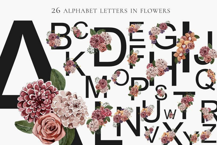 Festive alphabet in flowers png 26 letters