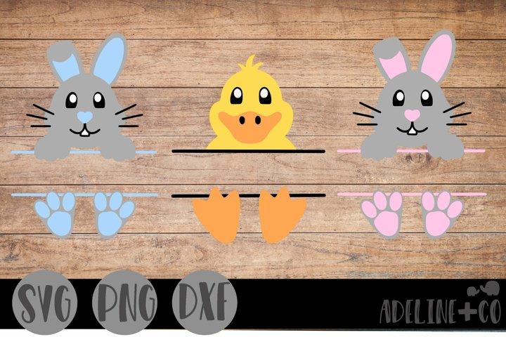 Easter bunny and duck split monogram, Easter, SVG