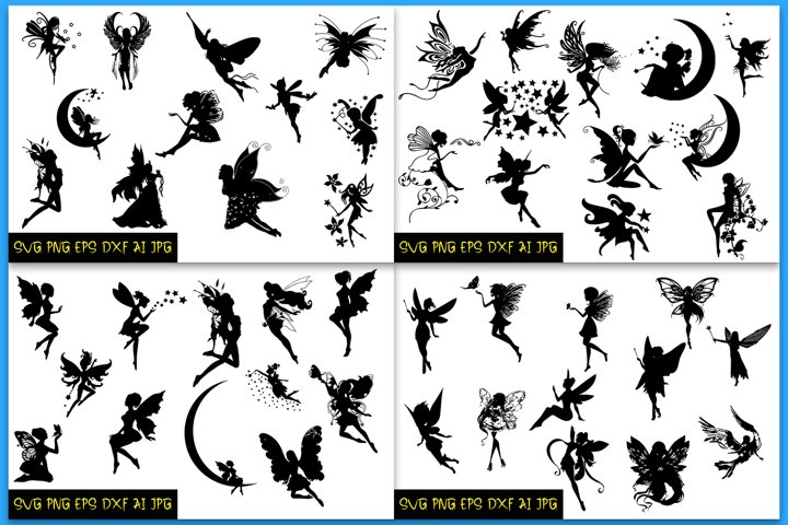 BUNDLE Fairy silhouettes, Fairies SVG, Silhouettes, Fairies