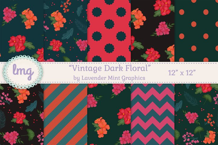 Vintage Dark Floral Digital Scrapbooking Papers