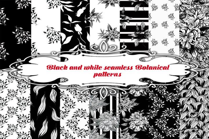 Black and white seamless Botanical patterns.Digital patterns
