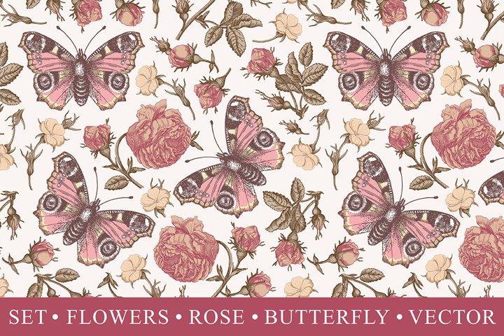 Seamless Butterflies Flowers Roses engraving botany vintage