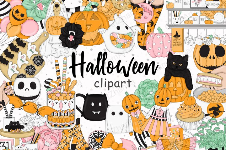 Halloween CLIPART, Fall clipart, Pumpkin clipart - PNG files