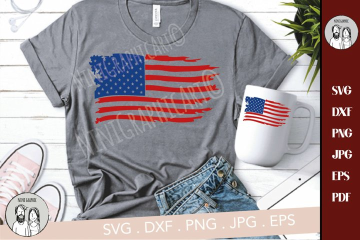 American flag distressed, Distressed USA Flag svg,