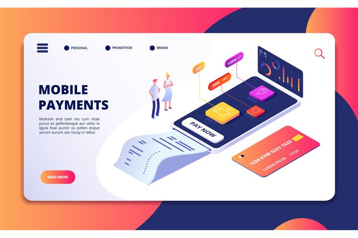 Online payment isometric concept. Banking shopping mobile ph